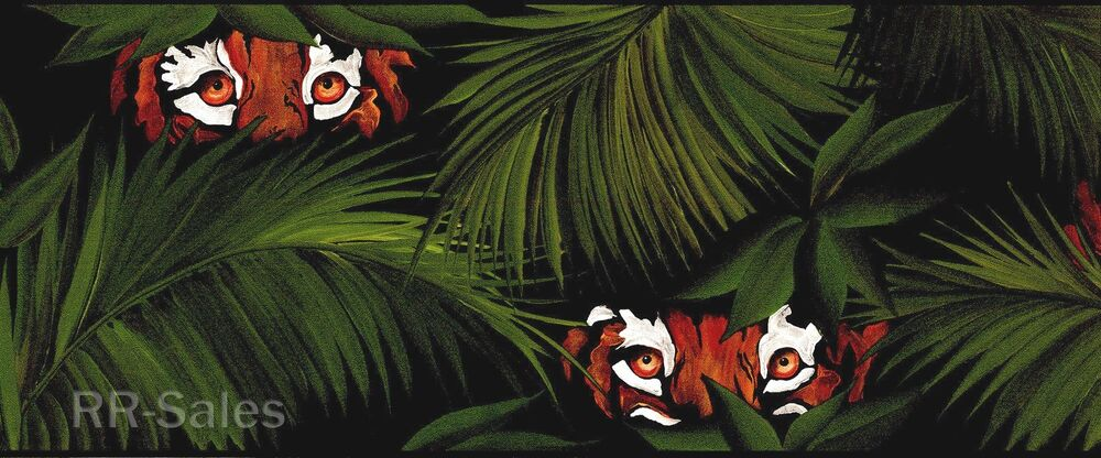 Tiger Eyes Wild Jungle Lion Cats Green Palms Leaves Ferns Wall