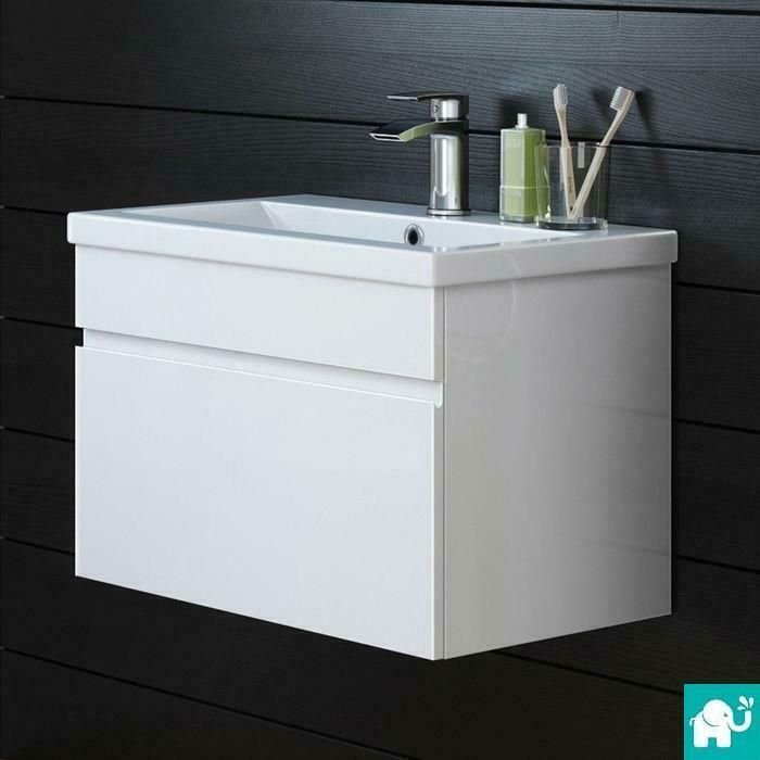 Designer Bathroom Gloss White Storage Cabinet Ceramic Basin Vanity Unit Mv810 Ebay