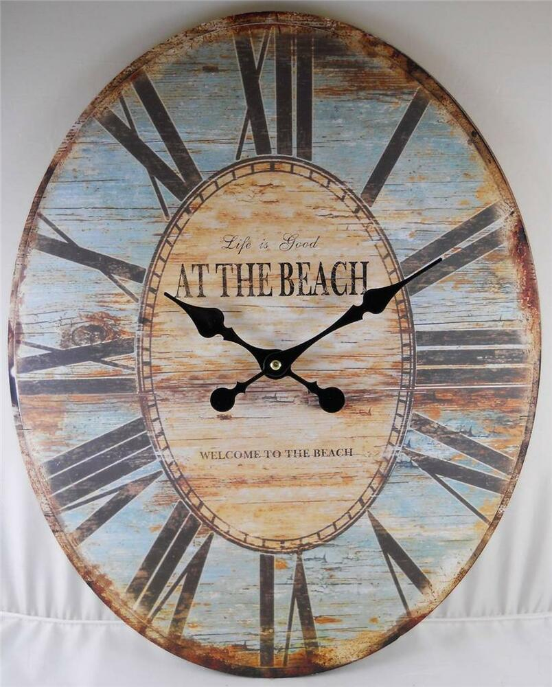 Oval Wall Clock LIFE IS GOOD WELCOME TO THE BEACH Clocks