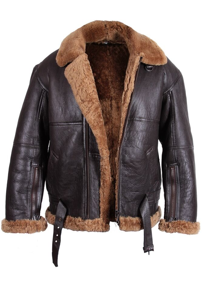 Brandslock Men&amp039s Aviator 100% Real Sheepskin Leather Bomber