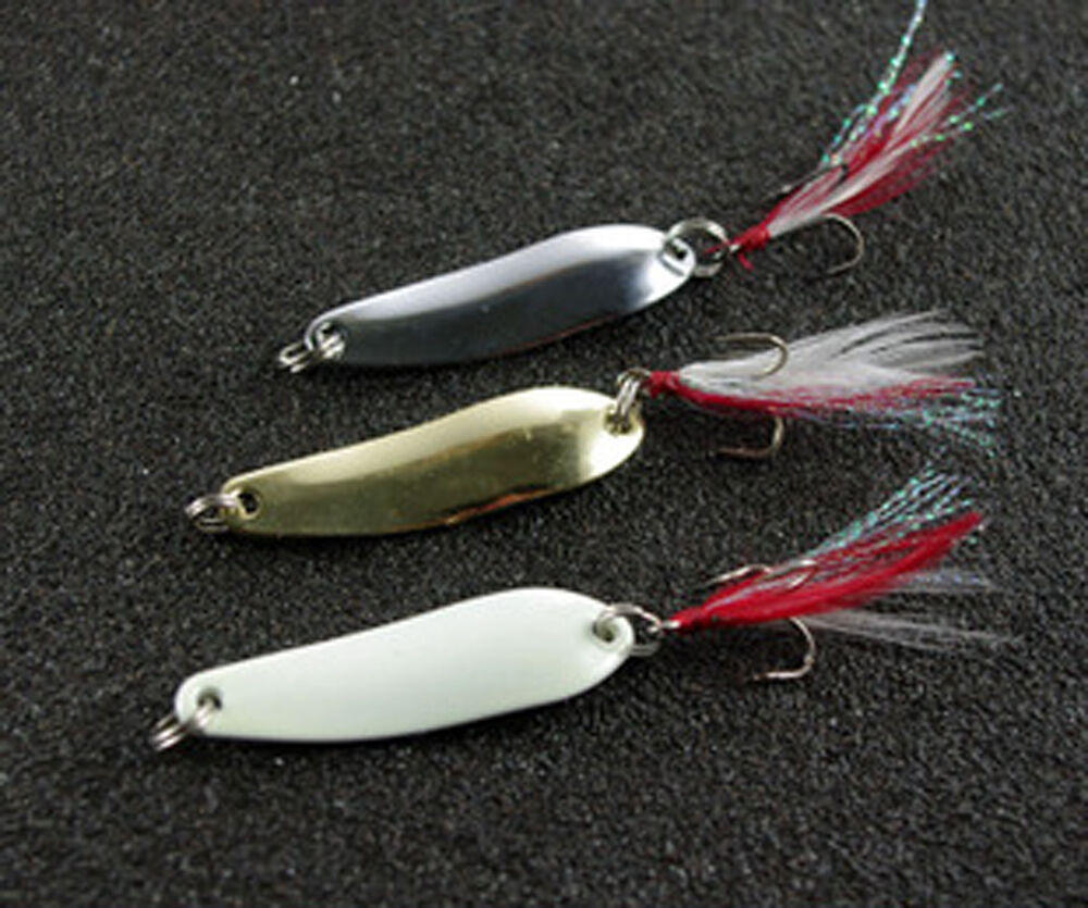 5pcs night fishing fish spoon lure lures feather hook for Best night fishing lures