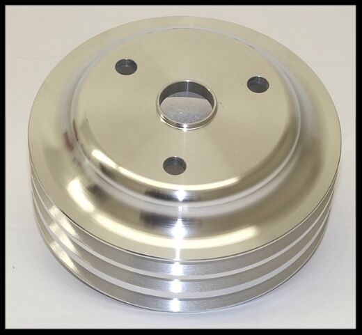 SBC CHEVY ALUMINUM TRIPLE GROOVE LOWER CRANK PULLEY FOR