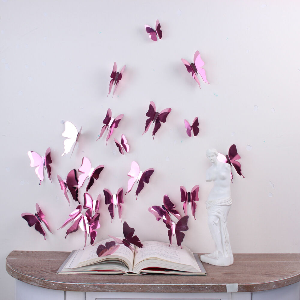Wall sticker art room decoration 3d butterflies rose gold for Decoration rose