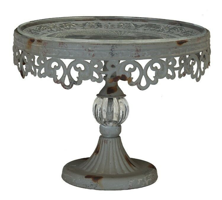 cake plate stand pedestal cake stand metal filigree with glass dessert 2271