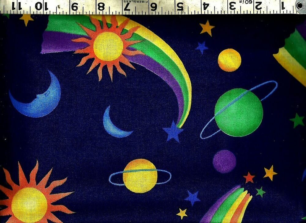 Fabric traditions sun moon stars planets 100 cotton for Sun moon fabric