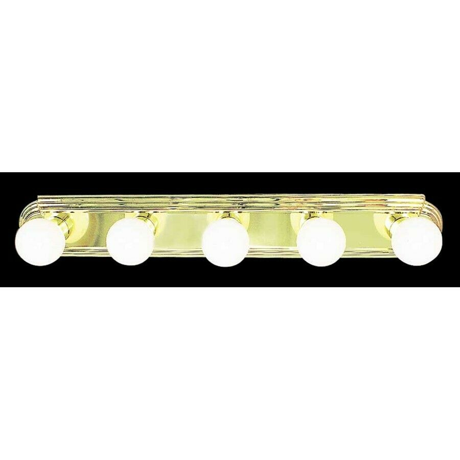5 Light Bathroom Vanity Light: Volume Lighting 5-Light Polished Brass Bathroom Vanity
