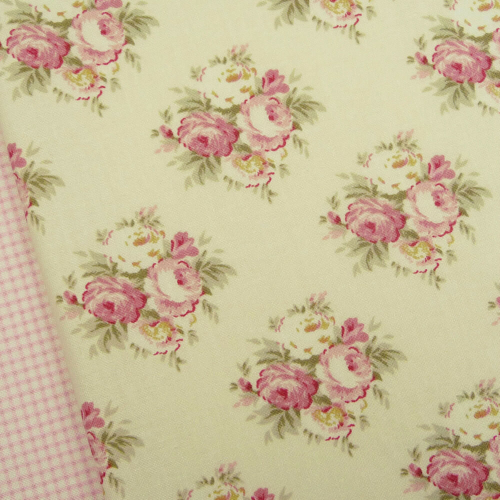 tilda apple bloom lizzie pink fabric quilting floral vintage shabby chic rose ebay. Black Bedroom Furniture Sets. Home Design Ideas