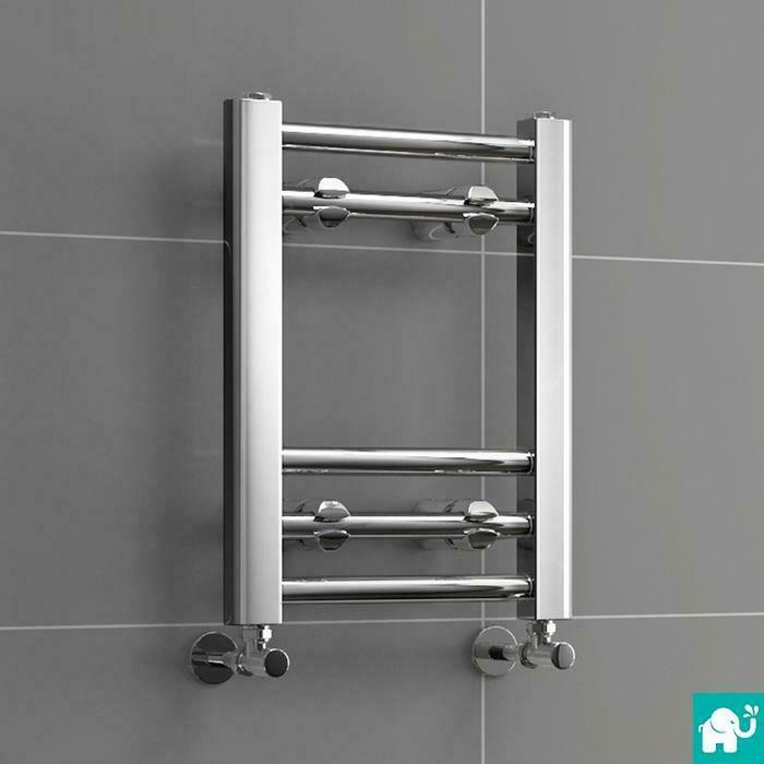 300mm Wide Black Designer Electric Heated Towel Rail: Modern Chrome 400 X 300mm Straight Towel Rail Radiator