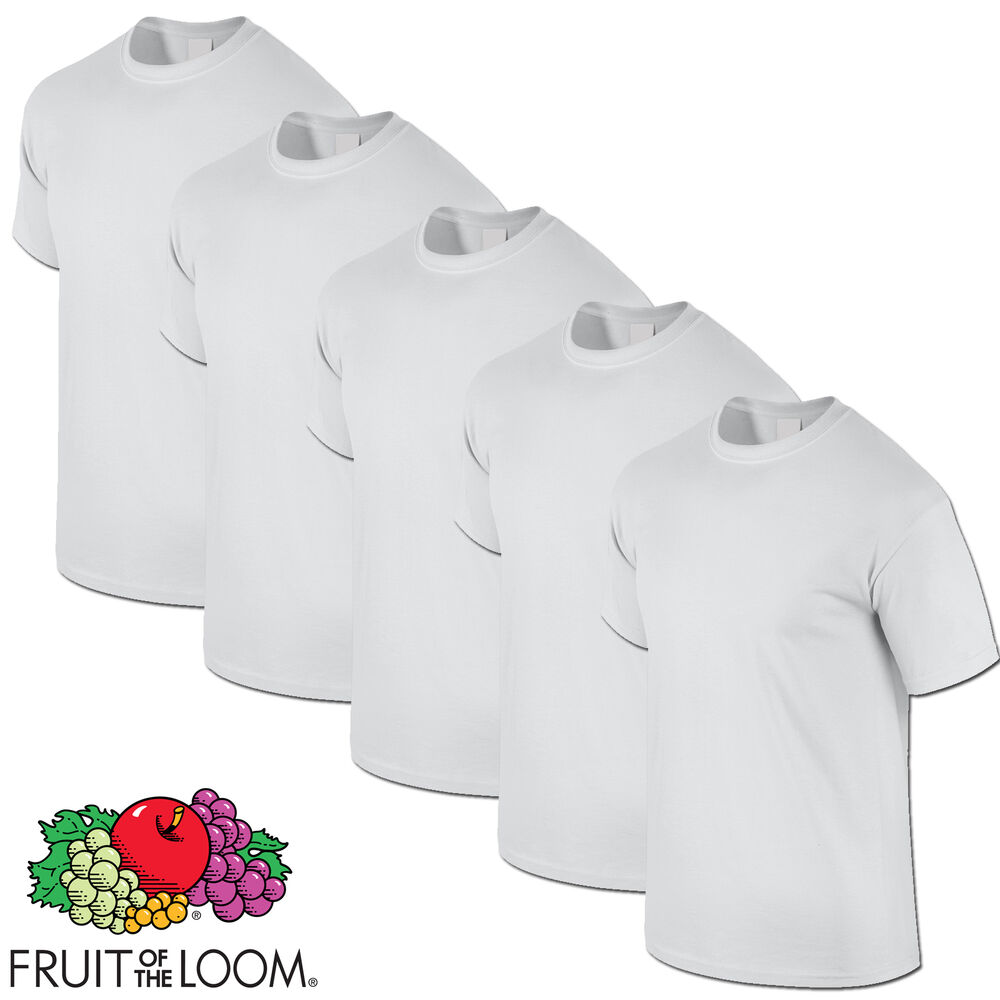 white 5 pack mens fruit of the loom plain cotton tshirt t. Black Bedroom Furniture Sets. Home Design Ideas