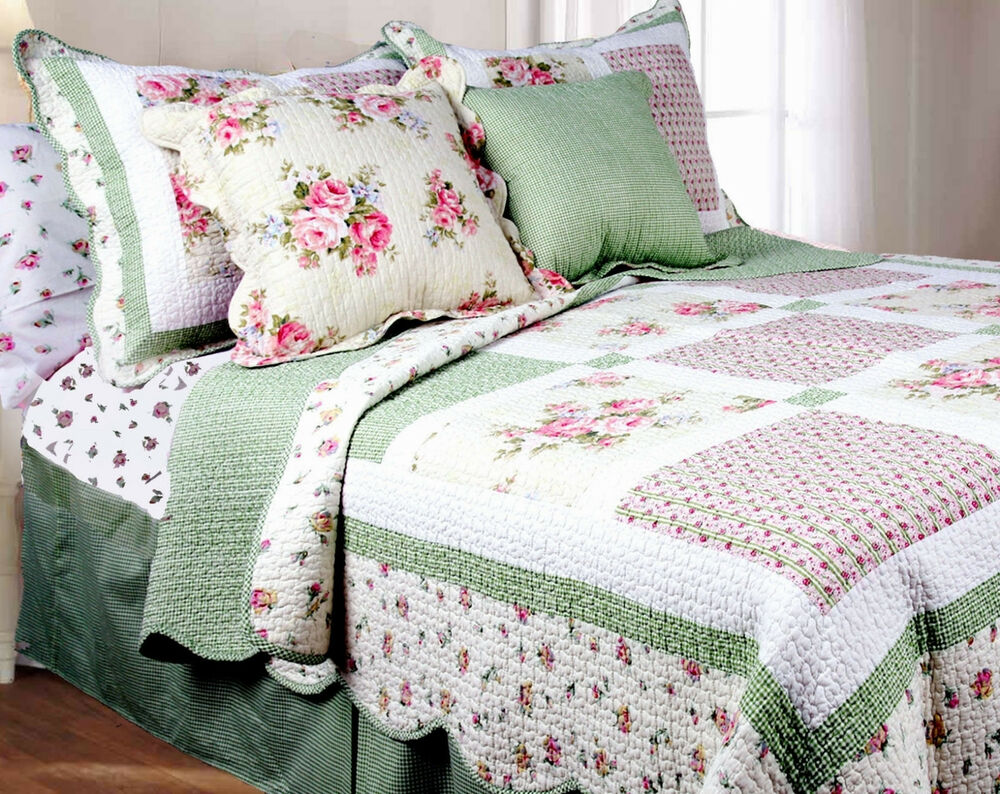 PINK ROSE Full Queen QUILT SET GREEN GINGHAM SHABBY