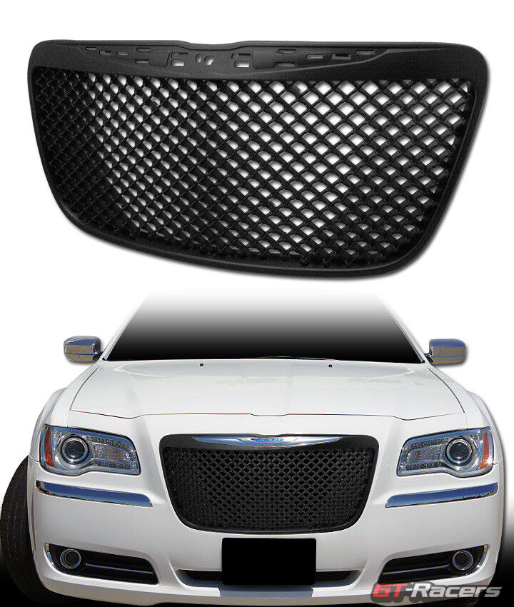 2011 2014 Chrysler 300 300c Fog Light Stainless Steel Mesh: FOR 2011-2014 CHRYSLER 300/300C BLACK LUXURY MESH FRONT