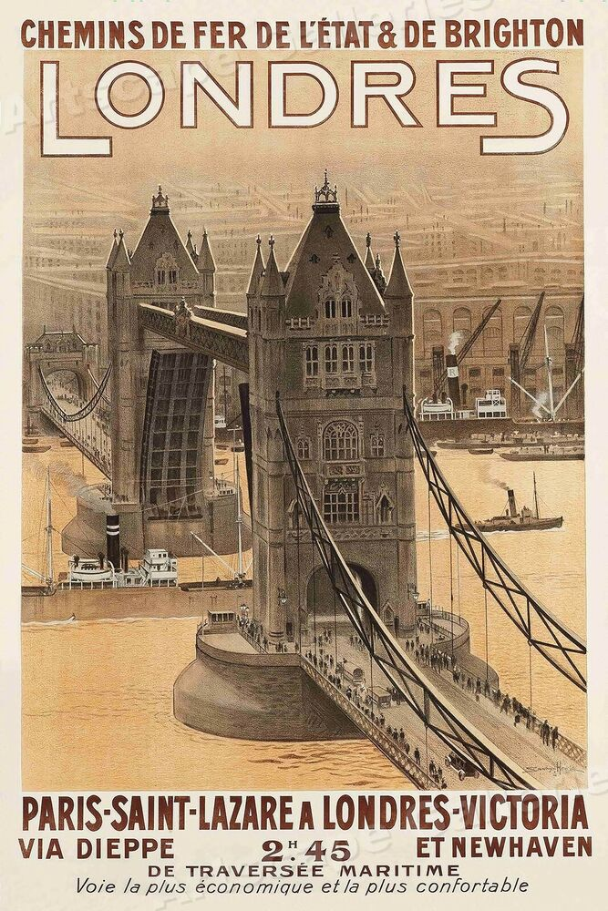 Londres 1920 39 s vintage style french travel poster 24x36 ebay - Boutique vintage londres ...