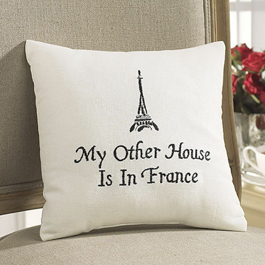 French Paris Saying Embroidered Accent Pillow Black