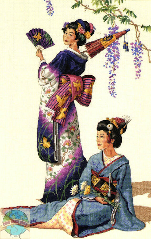 Cross stitch kit gold collection asian ladies in - Cuadros estilo oriental ...