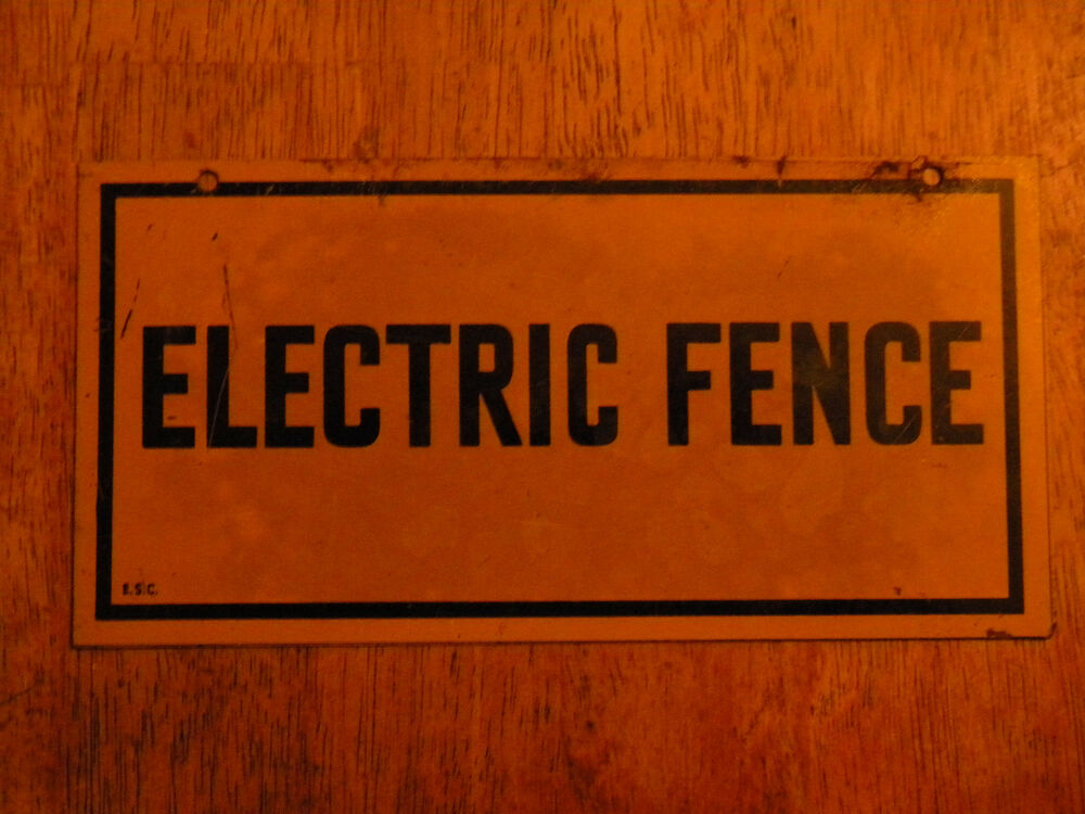 Retro Man Cave Signs : Vintage advertising metal sign electric fence man