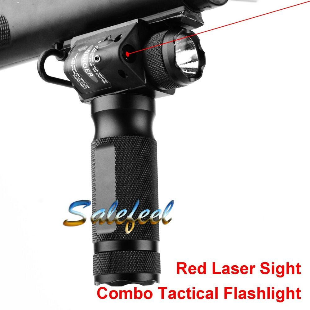 Combo Vertical Foregrip Strobe Cree Q5 Flashlight Amp Red Dot