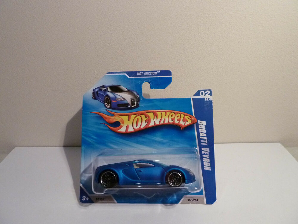 hotwheels bugatti veyron 2010 158 on short card satin blue ebay. Black Bedroom Furniture Sets. Home Design Ideas