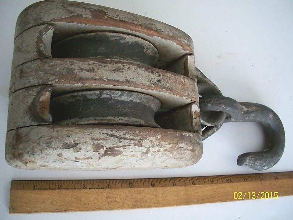 Pulleys Antique Looking : Awesome looking antique pulley hook worn paint deco ebay