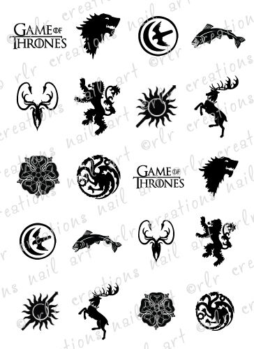 20 NAIL DECALS * GAME OF THRONES HOUSE SIGIL / CRESTS ...