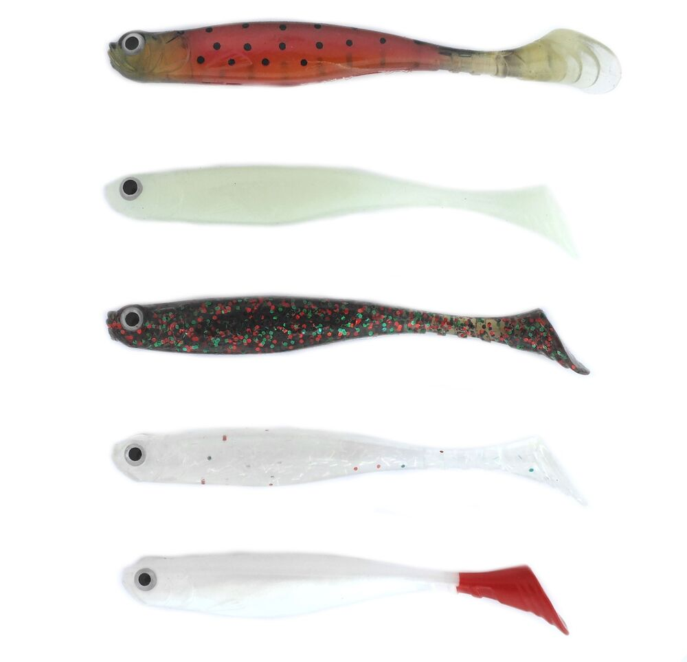 Sea hunter thumper tail shads 4 soft plastics 5 packs of for Ebay fishing lures