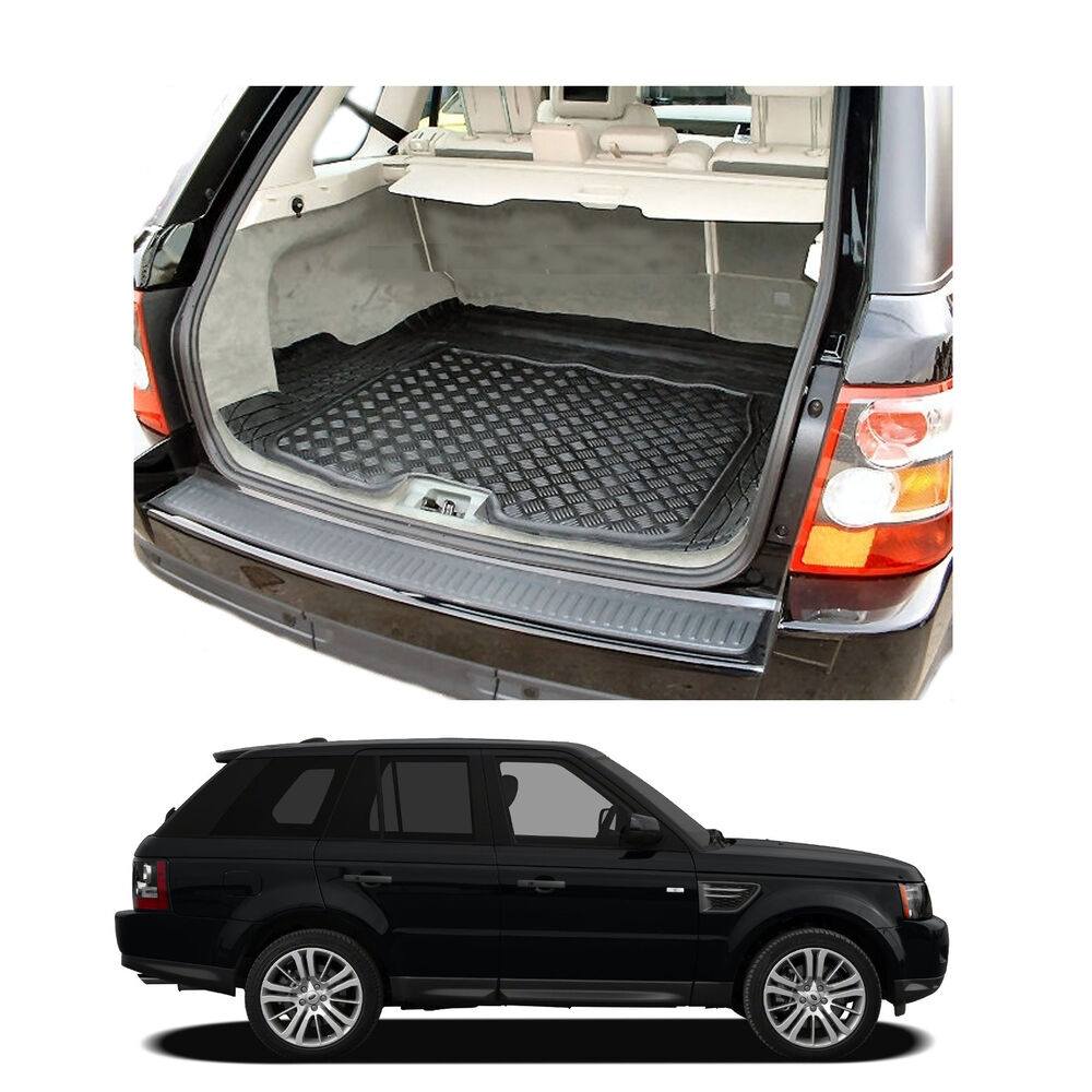 range rover sport tailored anti slip thick black rubber boot mat load liner tray ebay. Black Bedroom Furniture Sets. Home Design Ideas