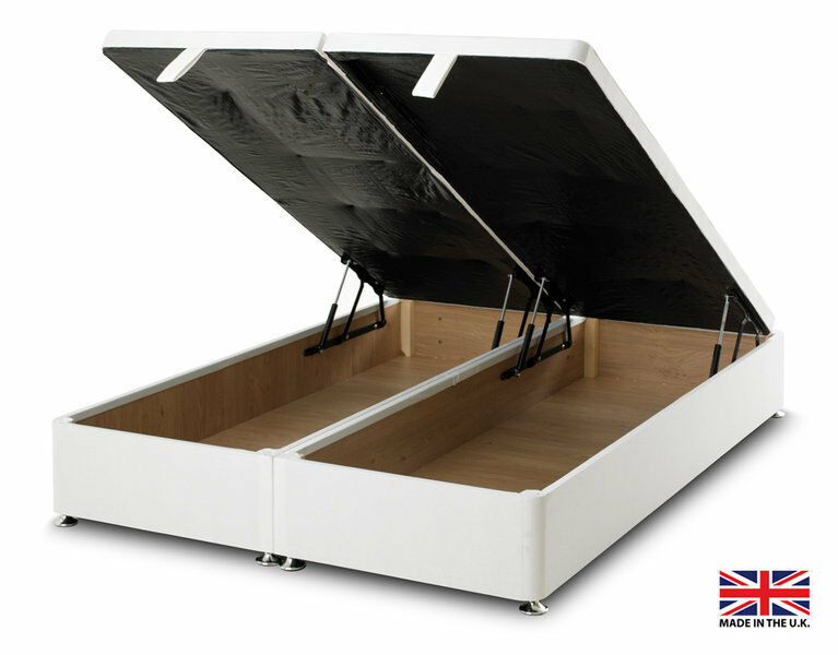 Exclusive bed world white ottoman foot lift divan bed base for Single divan bed base with storage
