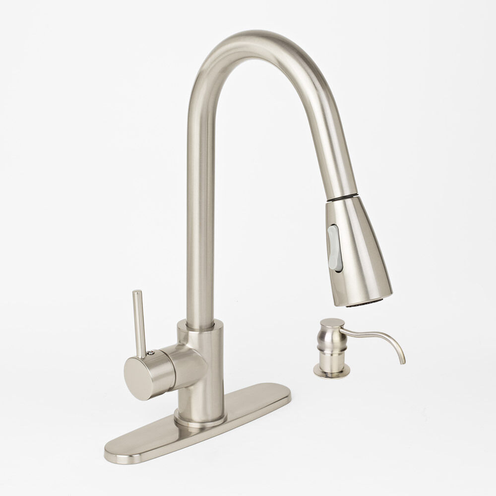 Brushed Nickel Kitchen Sink Faucet Pull Out Spray With Soap Dispenser Deck Pl