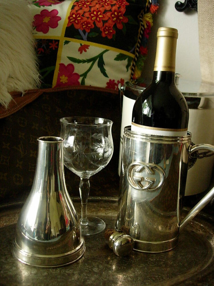 Rare Vintage Gucci Silver Wine Decanter Holiday Party