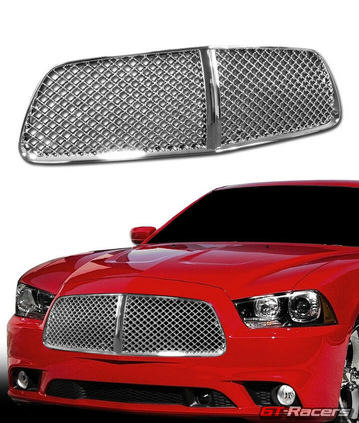 2011 2014 dodge charger chrome luxury mesh front hood. Black Bedroom Furniture Sets. Home Design Ideas