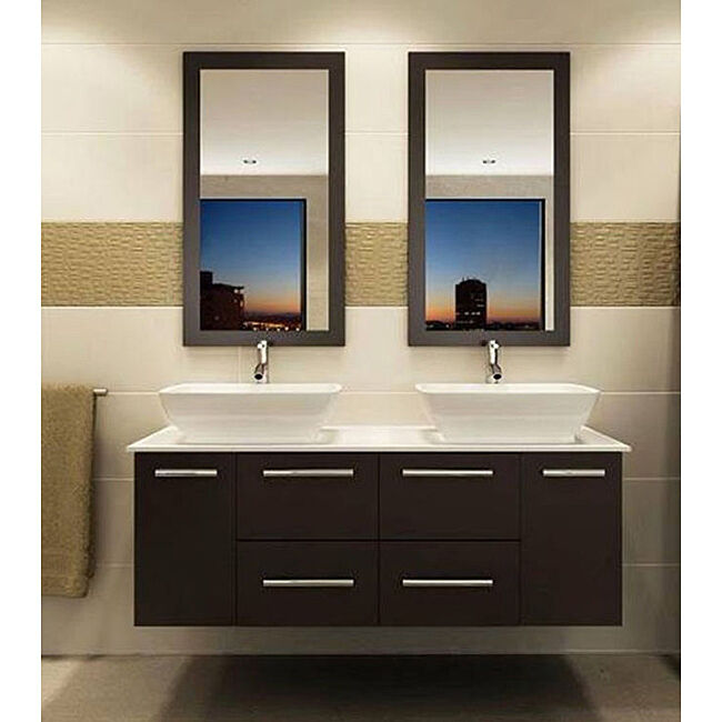 Awesome Kokols 47quot Double Floating Bathroom Vanity Set With Mirror Amp Reviews