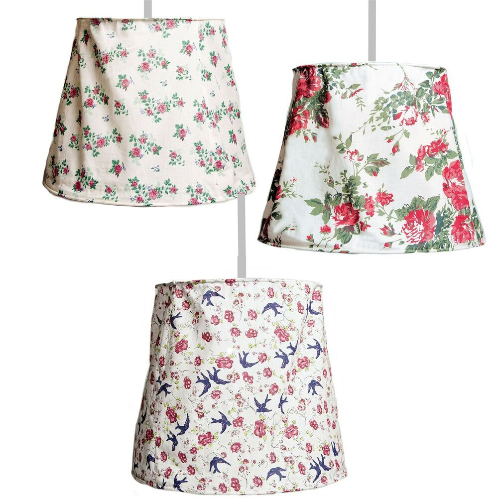 Fabric Ceiling Light Lamp Shade Vintage Shabby Rose Floral