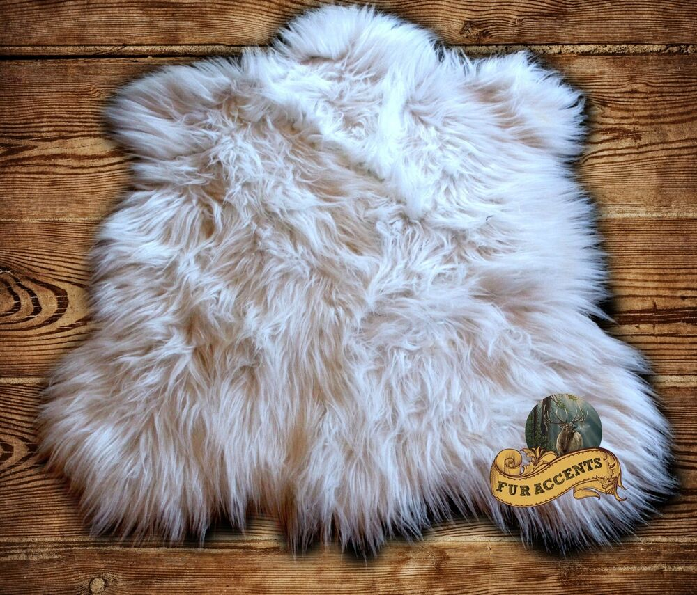fur accents shaggy white faux fur bear skin accent throw rug ebay. Black Bedroom Furniture Sets. Home Design Ideas