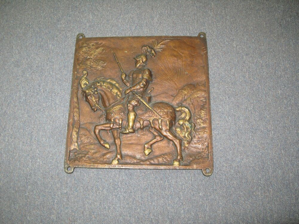 Plaque Vintage Metal : vintage antique cast iron bronzed metal plaque knight on horse 14 5 x 14 5 ebay ~ Teatrodelosmanantiales.com Idées de Décoration