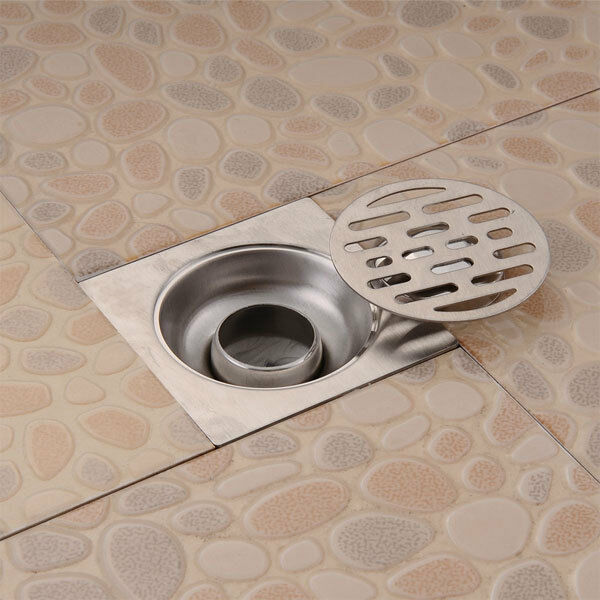 Bathroom Floor Drain Strainer : Stainless steel balcony bathroom shower square strainer