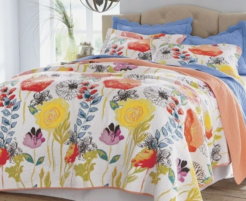 Watercolor Dream King Quilt Set Yellow Red White Cottage