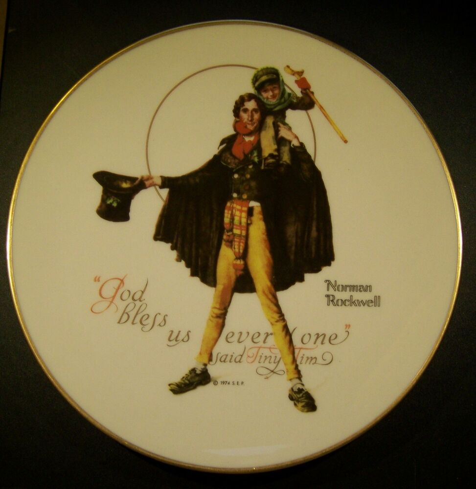 1974 Norman Rockwell God Bless Us Everyone Said Tiny Tim Collectors