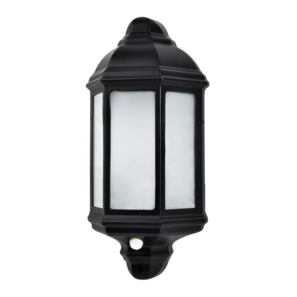 Black Aluminium Outdoor Ip44 Wall Lantern Frosted Glass