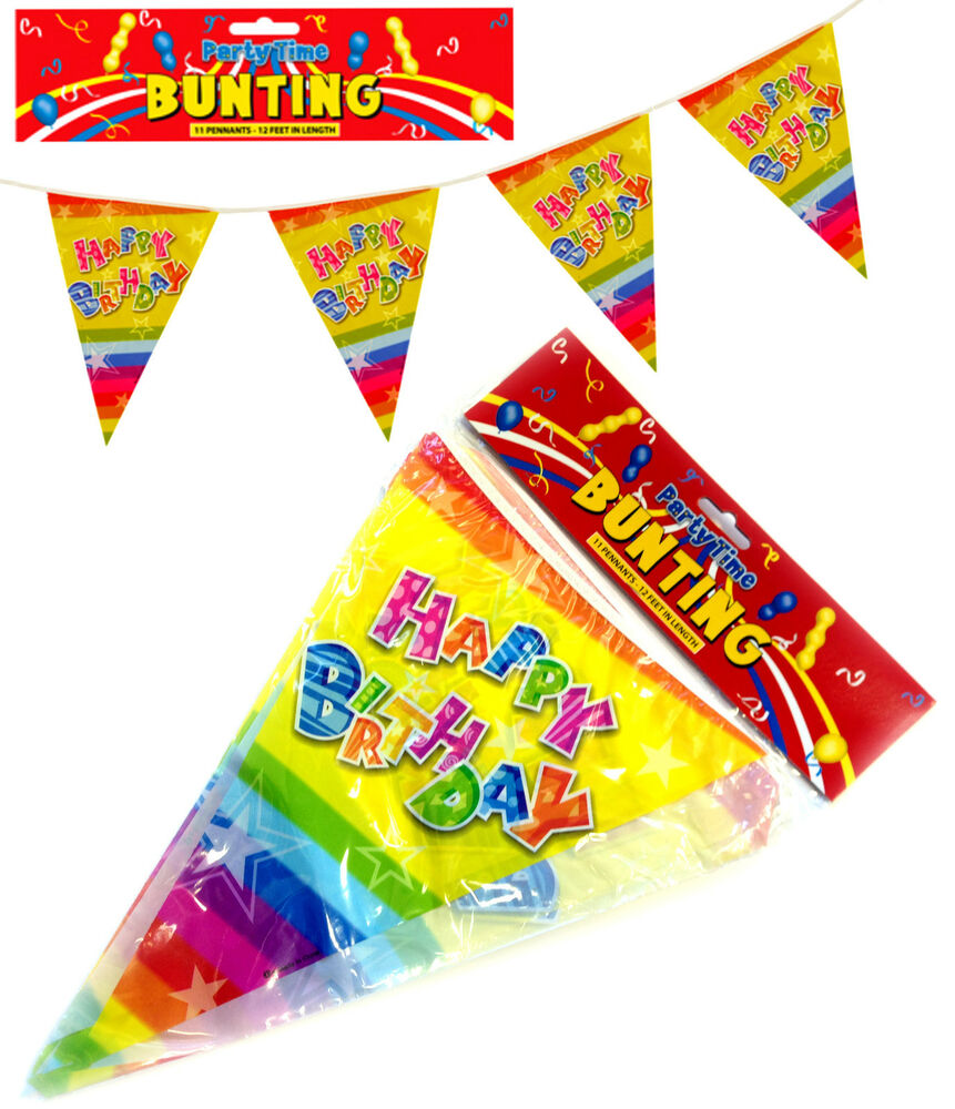 HAPPY BIRTHDAY PARTY BUNTING FLAGS BANNER DECORATION