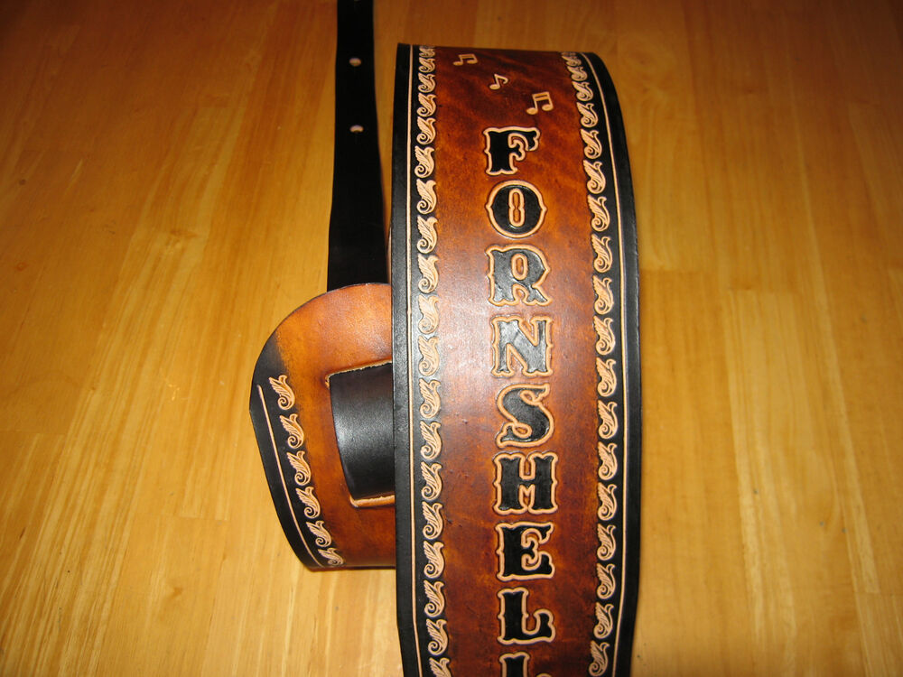 custom leather guitar strap your name 4 inches wide brown black music notes ebay. Black Bedroom Furniture Sets. Home Design Ideas