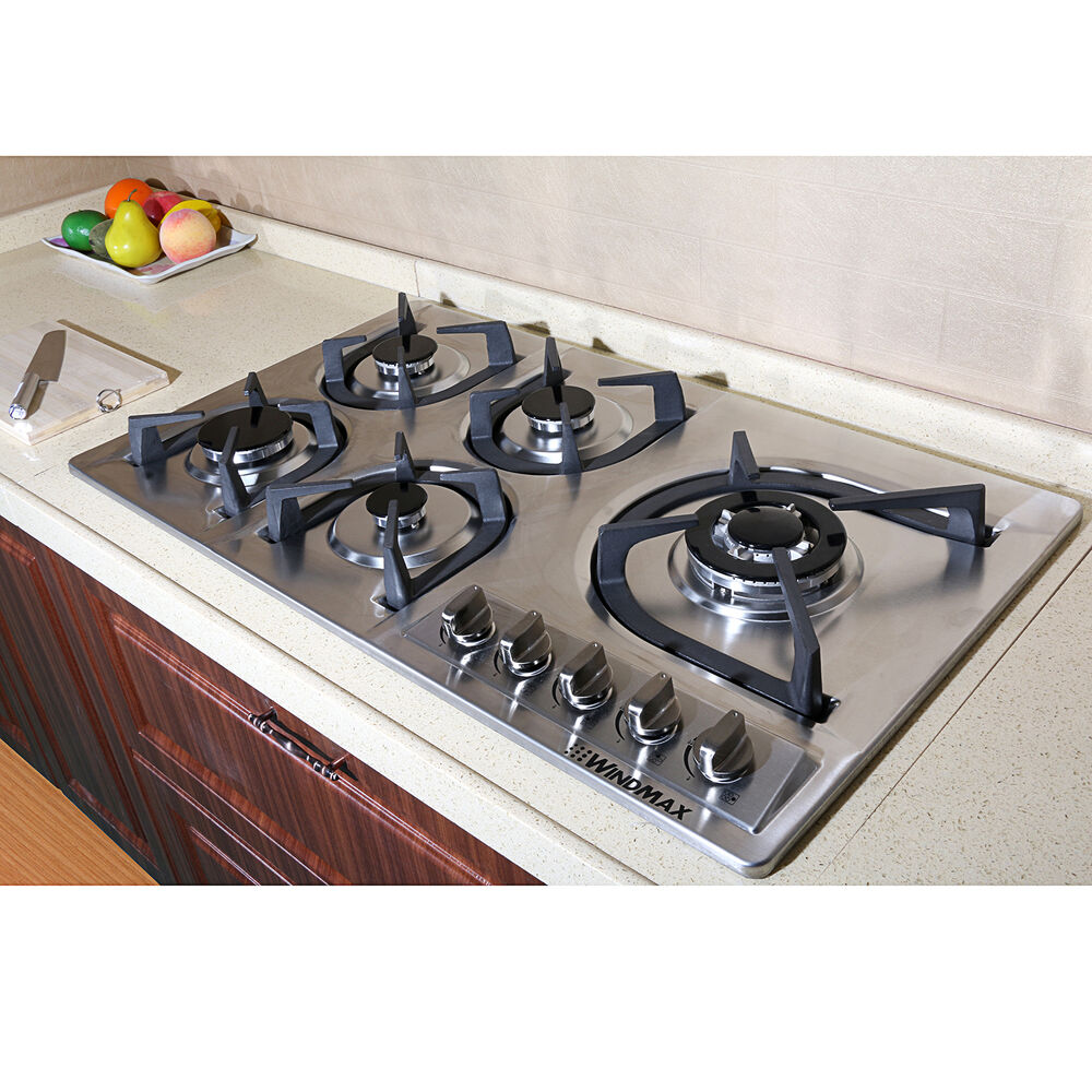 hot 34 stainless steel built in 5 burner stove gas hob cooktop cooker cook tops ebay. Black Bedroom Furniture Sets. Home Design Ideas