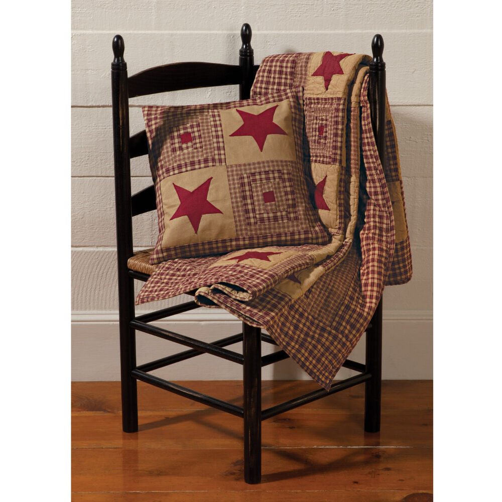 Vintage Star Red Quilted Throw Primitive Quilt Rustic