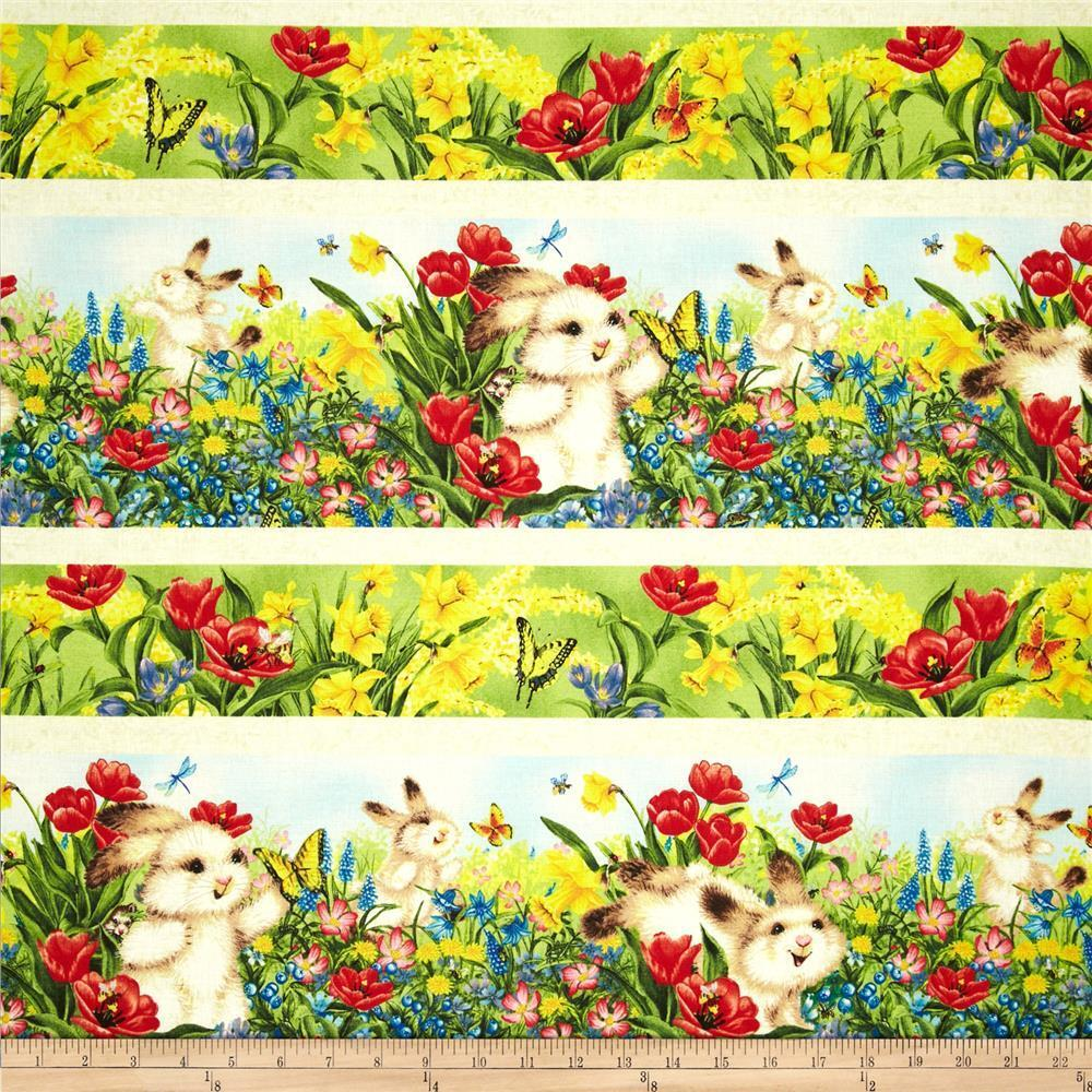 Quiet bunny repeating stripe cotton quilt fabric easter