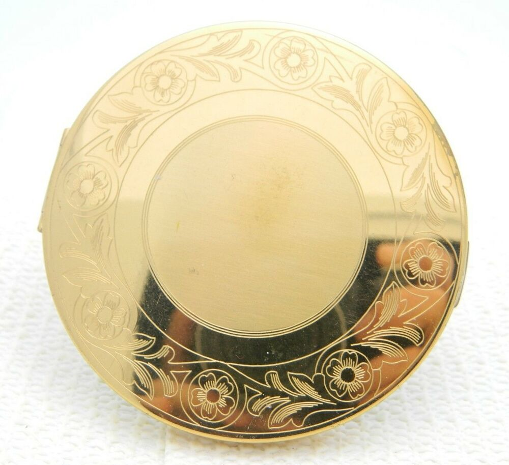 VTG Elgin American Gold Tone Floral Flower Etched Mirror Round Brass Compact | eBay
