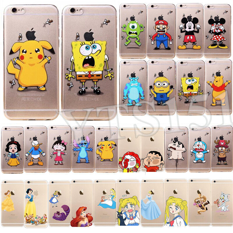 Cartoon Characters Iphone 6 Cases : Ultra thin cute cartoon patterns clear soft tpu case cover
