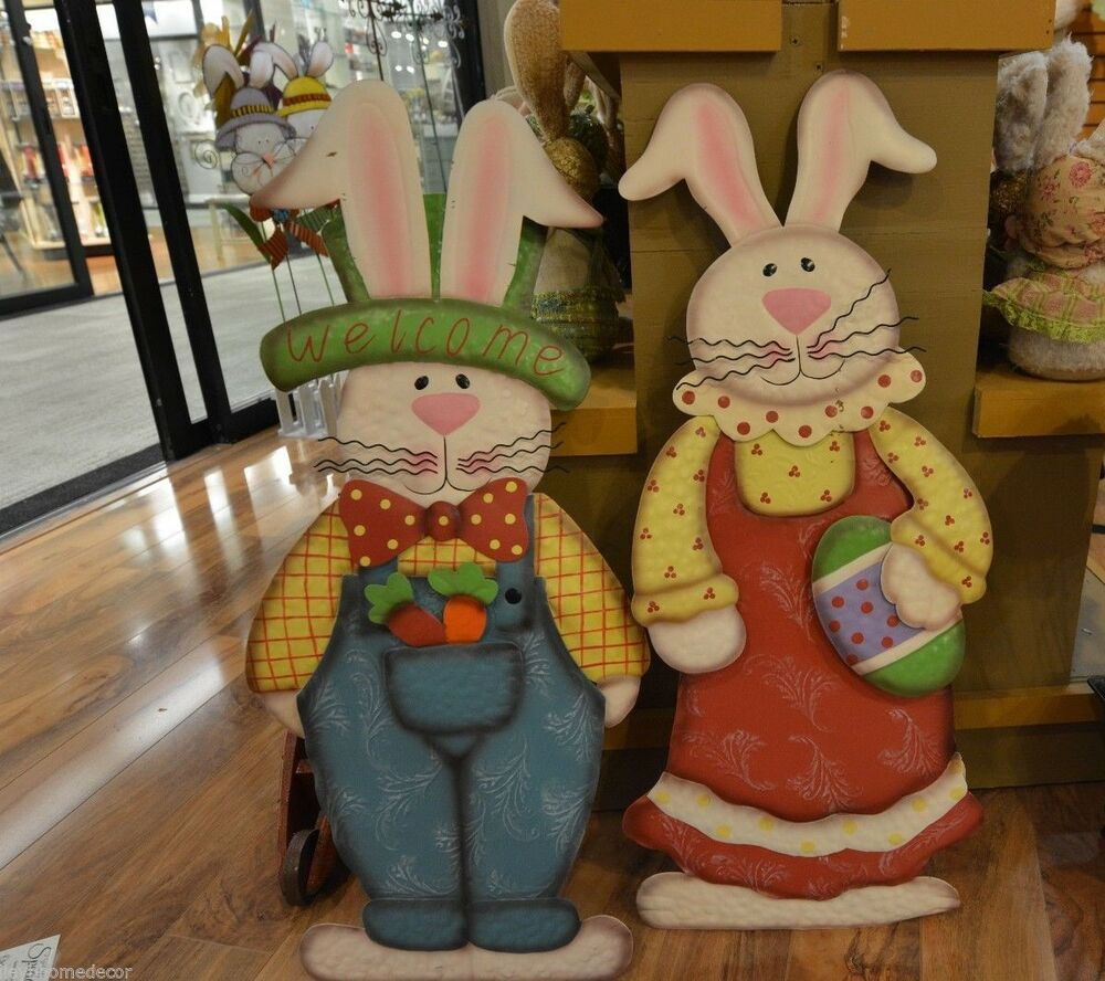 Standing Metal Cut Out Rabbit Boy Or Girl Easter Spring Decoration Hh95654 New Ebay