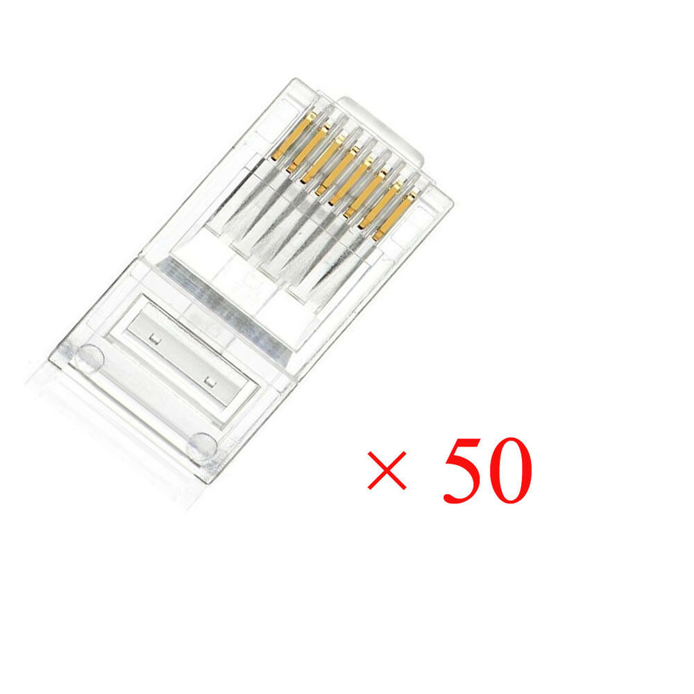 rj45 modular plug network connector cat5 cat5e cat6 solid cable heads 50pcs usa