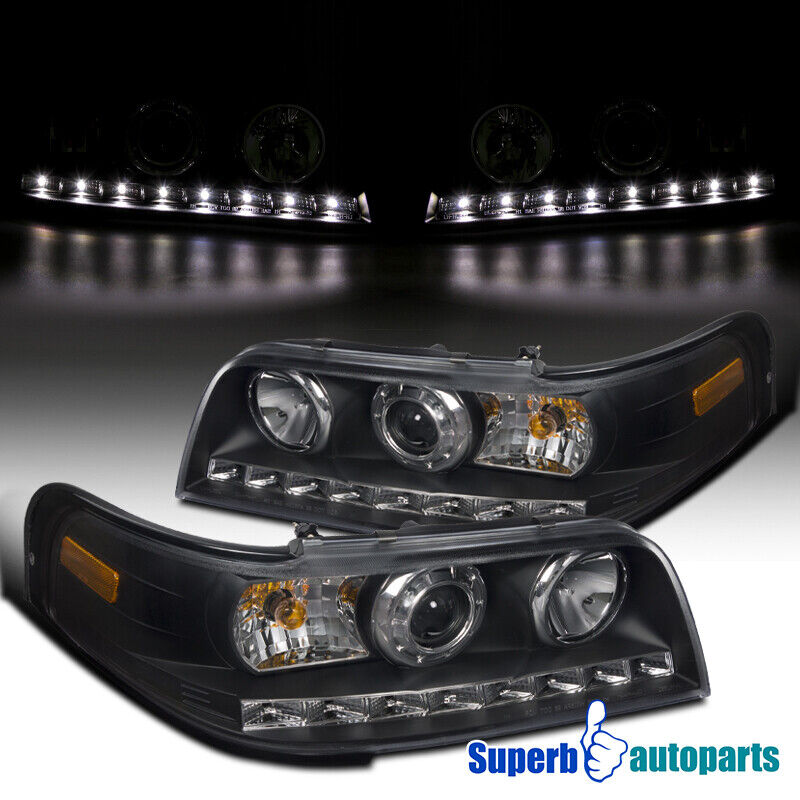 1998-2011 Ford Crown Victoria SMD LED DRL Projector Headlights Black Head Lamps | eBay