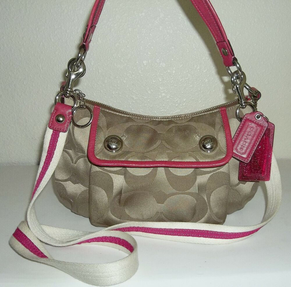 "Coach Small Khaki & Brown ""C"" Print & Pink Leather ..."