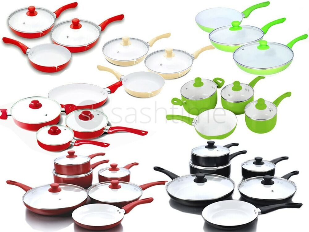 5 7 11pc Ceramic Frying Pan Saucepan Pots Set Cookware Non