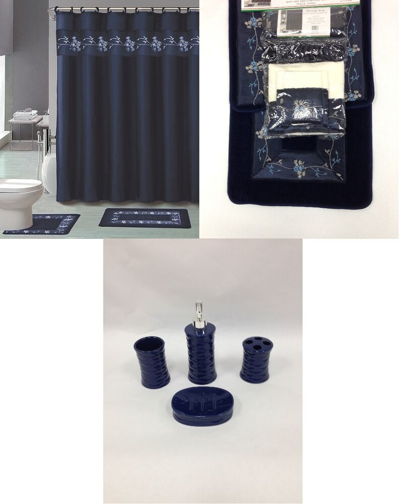 Navy Blue Bathroom Accessories Sets: 22Pc Bath Accessories Ceramic Set Beverly Navy Blue